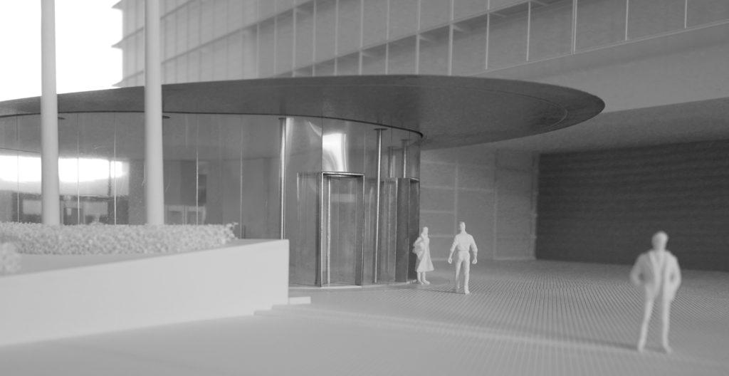 maquette Welcome centre 1-50, nouveau pavillon d'accueil du Berlaymont à Bruxelles